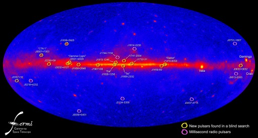 Map of the 16 new pulsars in the sky